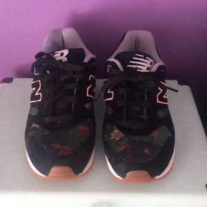 New Balance floral and peach accent sneakers